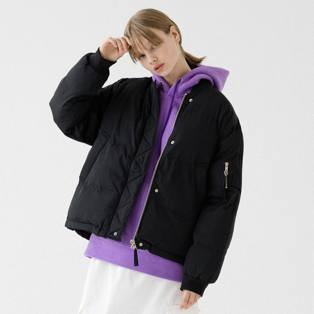HALF NECK PUFFER SHORT JACKET APD193001-BK