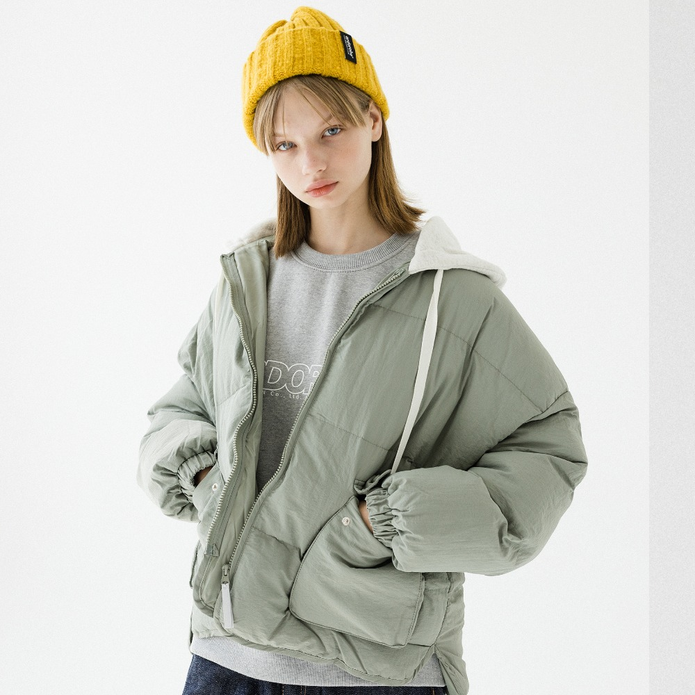 HOOD NECK PUFFER SHORT JACKET APD193002-KK