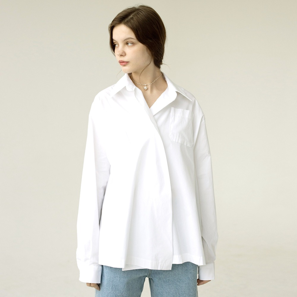 one button oversized shirts  AST201002-WT