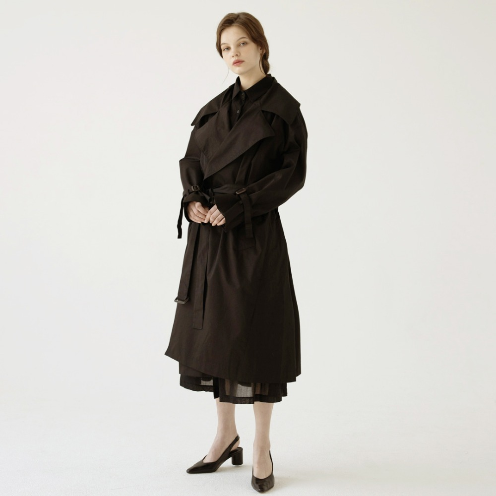 over-sized long trench coat ACT201001-BK