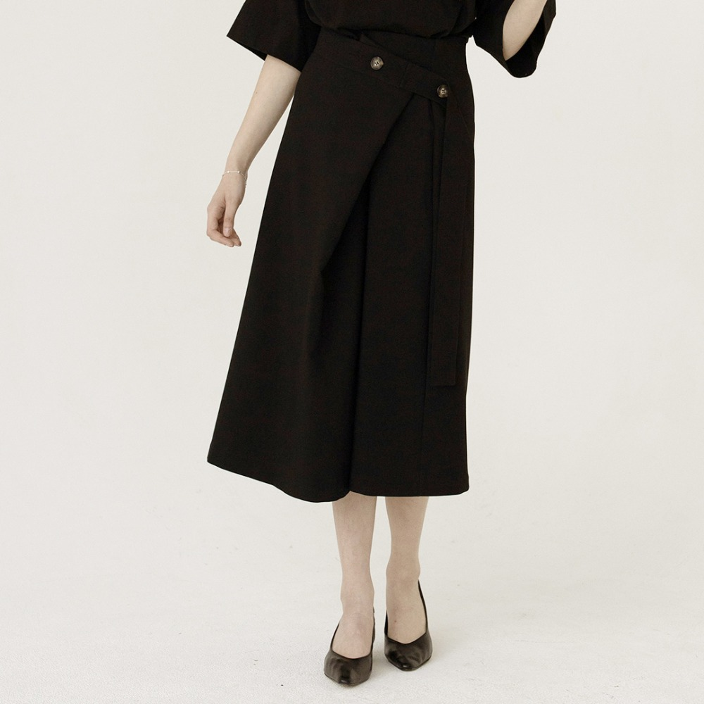 asymmetric pleats wrap skirt ASK201003-BK